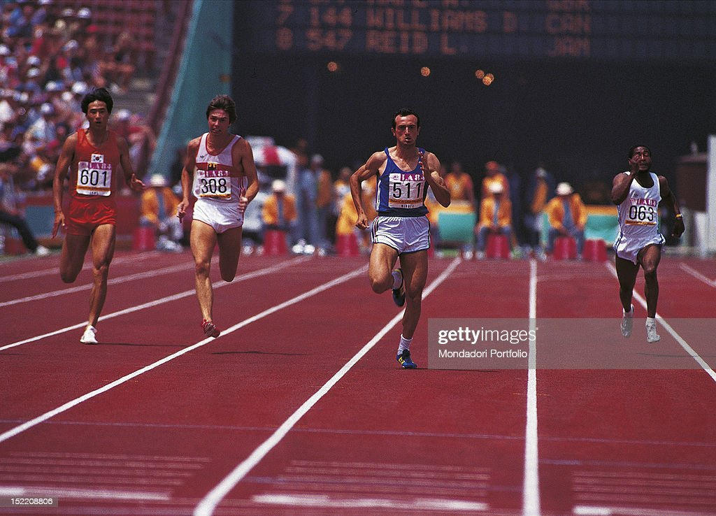 The Italian sprinter Pietro Mennea taking part in a 200 metres race at Los Angeles Olympics. Los Angeles, 1984