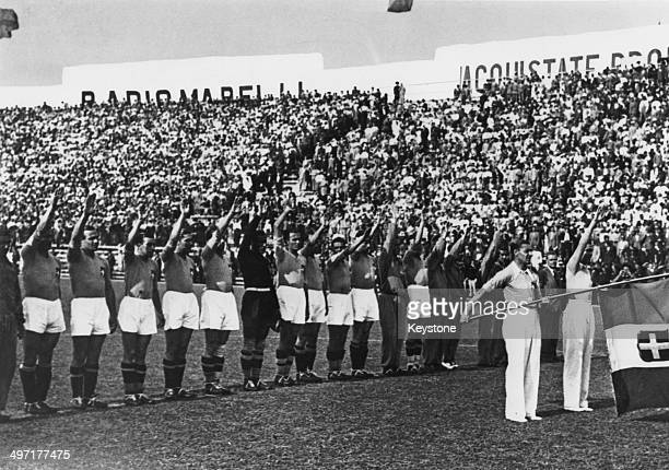 The Italian team performing a fascist salute before the 1934 World Cup Final at the Stadio Nazionale PNF Rome Italy 10th June 1934