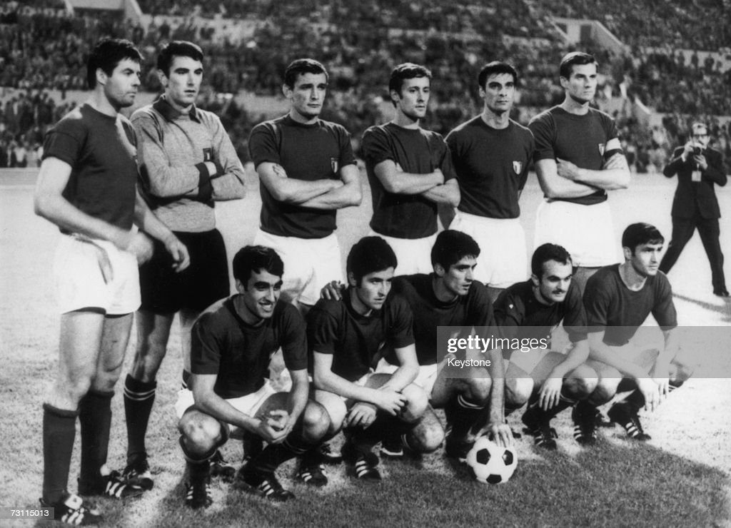 The Italian team poses for pictures after beating Yugoslavia 20 in the UEFA European Football Championship Final replay at the Stadio Olimpico in...