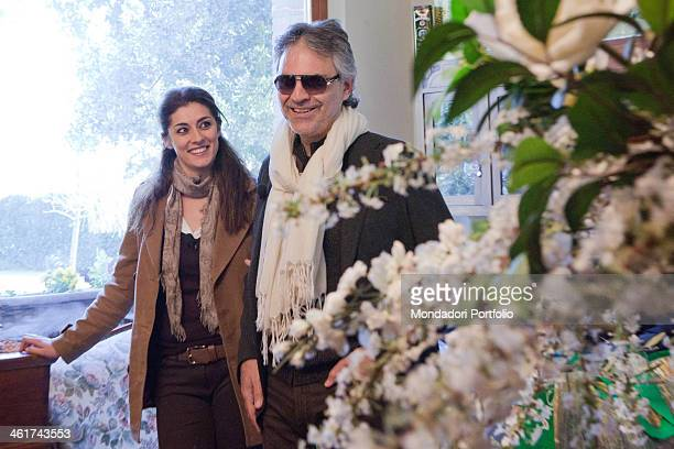 The italian tenor Andrea Bocelli smiles with the italian tv presenter Elisa Isoardi during an episode of the tv program 'Linea Verde'dedicated to...
