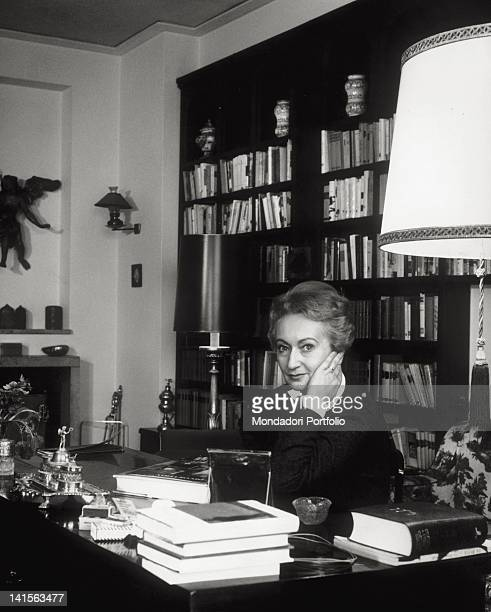 The Italian writer Alba de CTspedes photographed in the study of her Rome house Rome January 1964