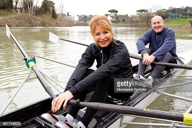 The Italian writer and journalist Lilli Gruber and her husband French journalist and writer Jacques Charmelot canoeing on the river Tiber Rome 10...