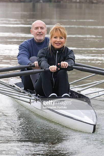 The Italian writer and journalist Lilli Gruber and her husband French journalist and writer Jacques Charmelot canoeing on the Tiber river January 10...