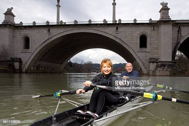 The Italian writer and journalist Lilli Gruber and her husband French journalist and writer Jacques Charmel canoeing on the river Tiber Rome January...