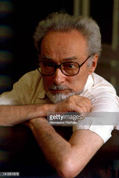 The Italian writer Primo Levi showing his serial number tattoo During the Second World War was deported to Auschwitz concentration camp Turin 1981
