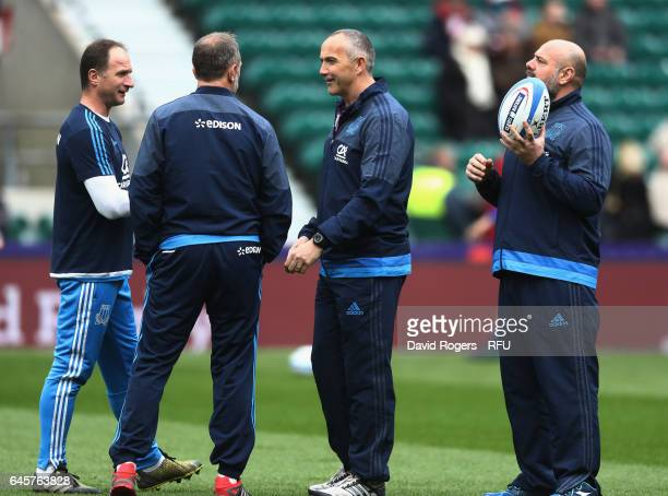 The Italy coaching team of Mike Catt backs coach Brendan Venter the defence consultant Conor O'Shea head coach and Giampiero de Carli the forwards...