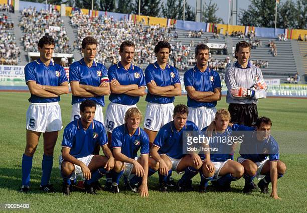 The Italy football team pose for a team group shot before their match with Zambia inside the Gwangju Mudeung Stadium in Gwangju South Korea during...