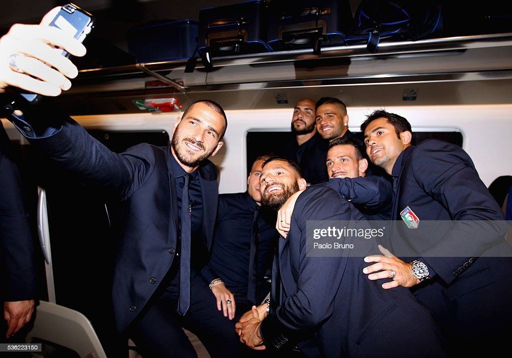 The Italy player <a gi-track='captionPersonalityLinkClicked' href=/galleries/search?phrase=Leonardo+Bonucci&family=editorial&specificpeople=6166090 ng-click='$event.stopPropagation()'>Leonardo Bonucci</a> makes a selfie with his teammates as depart for Coverciano on the Frecciarossa 1000 train at Stazione Termini on May 31, 2016 in Rome, Italy.