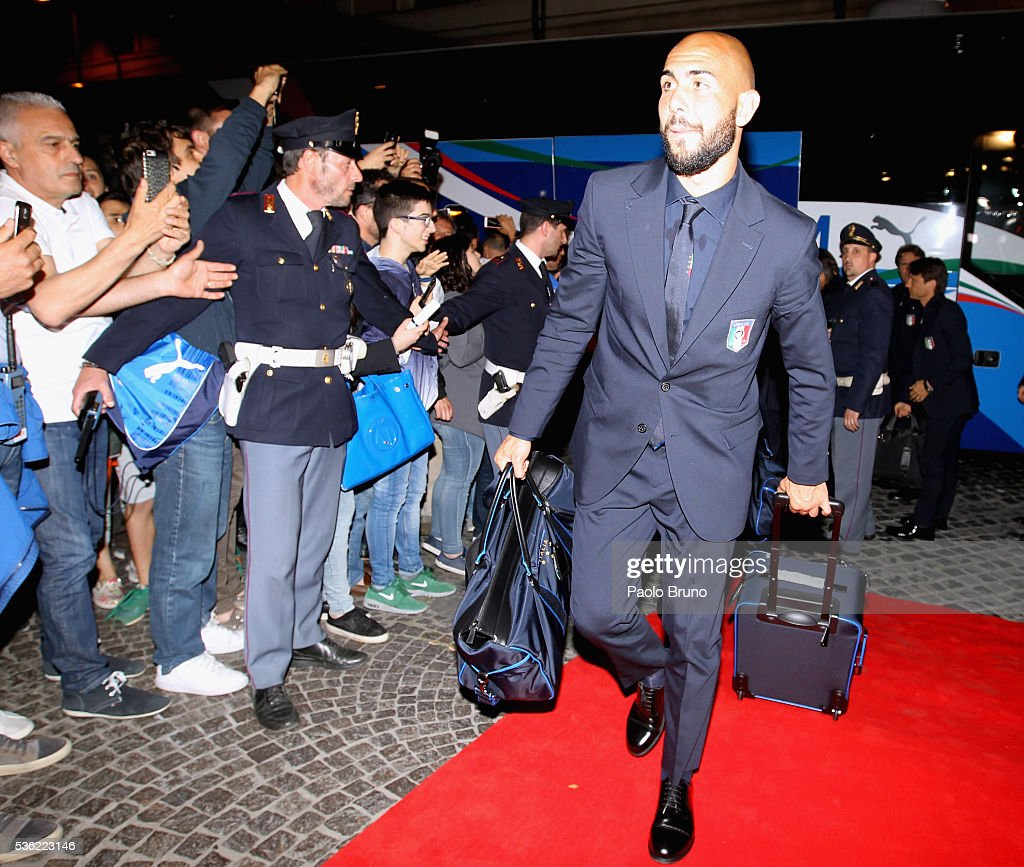 The Italy player Simone Zazza departs for Coverciano on the Frecciarossa 1000 train at Stazione Termini on May 31, 2016 in Rome, Italy.