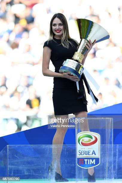 The Italy Serie A trophy is displayed after the Serie A match between Juventus FC and FC Crotone at Juventus Stadium on May 21 2017 in Turin Italy