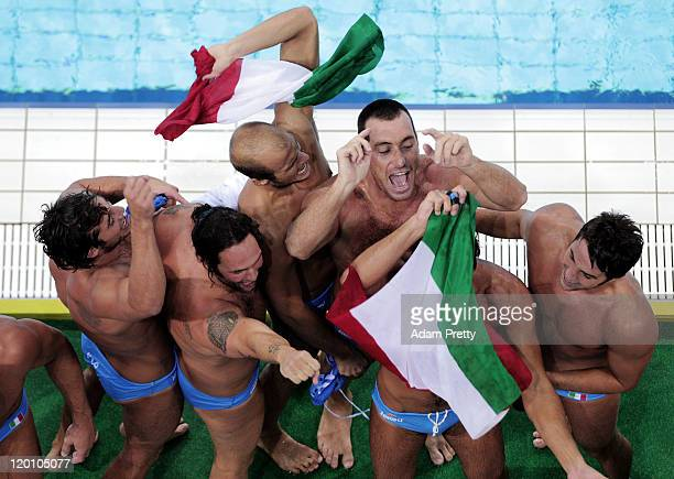 The Italy team celebrates winning the gold medal in the Men's Water Polo gold medal match between Serbia and Italy during Day Fifteen of the 14th...