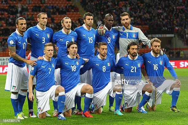 The Italy team line up before the FIFA 2014 World Cup qualifier match between Italy and Denmark at Stadio Giuseppe Meazza on October 16 2012 in Milan...