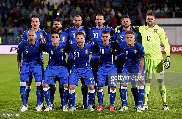 The Italy team pose for a photo prior to the Euro 2016 Qualifier match between Bulgaria and Italy at Vasil Levski National Stadium on March 28 2015...