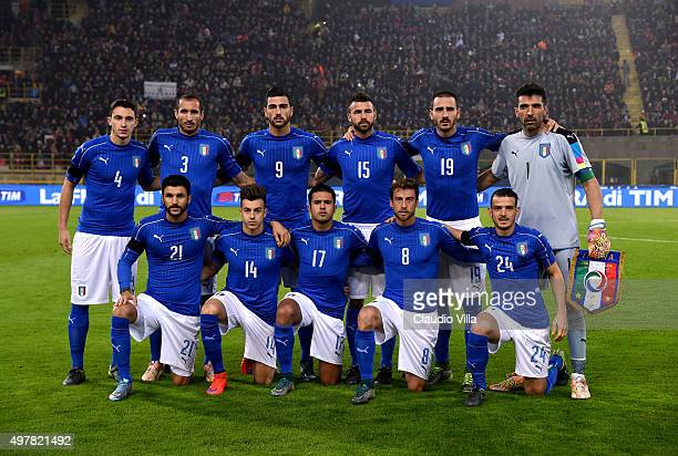 The Italy team pose prior to the international friendly match between Italy and Romania at Stadio Renato Dall'Ara on November 17 2015 in Bologna Italy
