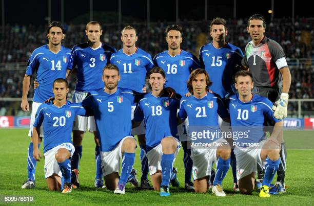 The Italy team poses before kickoff