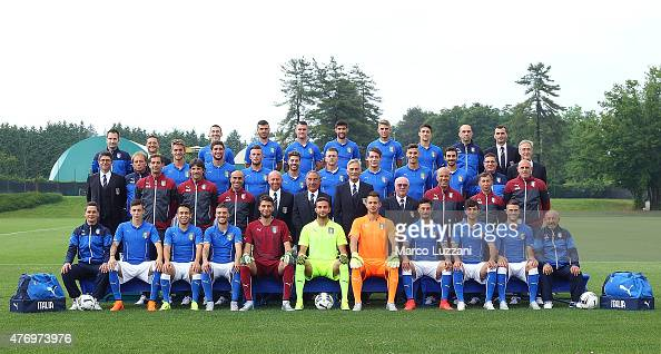 The Italy U21 team pose during the official Italy U21 portrait session at the training ground on June 13 2015 in Appiano Gentile Como Italy