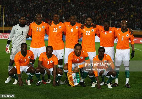 The Ivory Coast team pose for a group photo during the International Friendly match between Turkey and the Ivory Coast at the Izmir Ataturk Stadium...