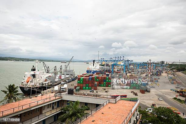 The IVS Ibis a bulk carrier left and other ships are seen moored on the dockside of Mombasa port managed by the Kenya Ports Authority a staterun...
