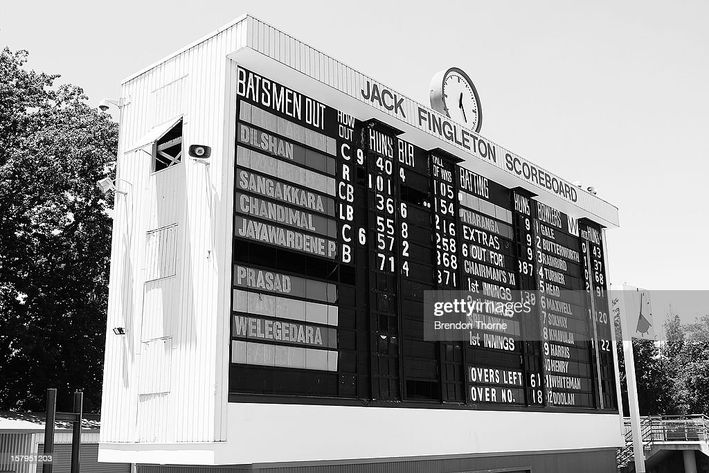 The Jack Fingleton Scoreboard displays the score during an international tour match between the Chairman's XI and Sri Lanka at Manuka Oval on December 8, 2012 in Canberra, Australia. The Jack Fingleton Scoreboard was first erected at the MCG in 1901. In 1982 it was replaced by an electronic board and donated to the Manuka Oval by the Melbourne Cricket Club as memorial to J.H.W Fingleton OBE.