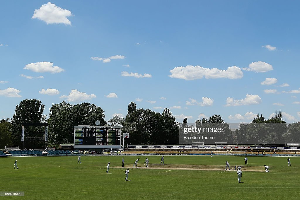 The Jack Fingleton Scoreboard stands behind play during an international tour match between the Chairman's XI and Sri Lanka at Manuka Oval on December 8, 2012 in Canberra, Australia. The Jack Fingleton Scoreboard was first erected at the MCG in 1901. In 1982 it was replaced by an electronic board and donated to the Manuka Oval by the Melbourne Cricket Club as memorial to J.H.W Fingleton OBE.