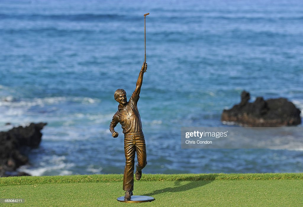 KA'UPULEHU-KONA, HI - JANUARY 16: The Jack Nicklaus award on the 17th tee during the Thursday Pro Am at the Mitsubishi Electric Championship at Hualalai Golf Club on January 16, 2014 in Ka'upulehu-Kona, Hawaii.