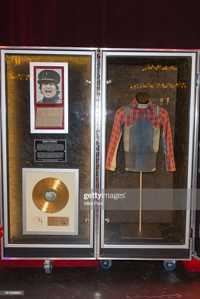 The jacket John Lennon wore when he was famously thrown out of the Troubador club in Los Angeles on display at Hard Rock's 'Gone Too Soon' and 'Music Gives Back' Media Preview Day at Hard Rock Cafe New York on February 13, 2013 in New York City.