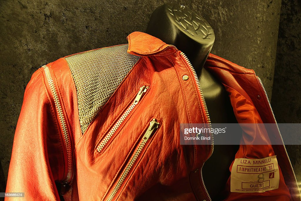 The jacket Michael Jackson wore in the video Beat It with a Liza Minelli Show Backstage sticker of 1983 attached inside is displayed at the opening of the exhibition Hard Rock Couture - Music Inspired Fashion at the Hard Rock Cafe on March 14, 2013 in Munich, Germany.