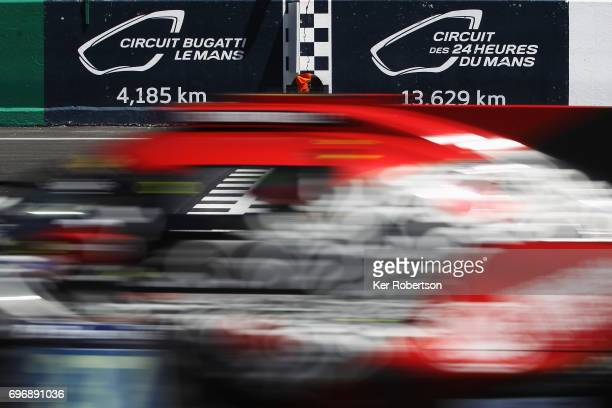 The Jackie Chan DC Racing Oreca of Oliver Jarvis Thomas Laurent and HoPin Tung drives drives during the Le Mans 24 Hours race at the Circuit de la...