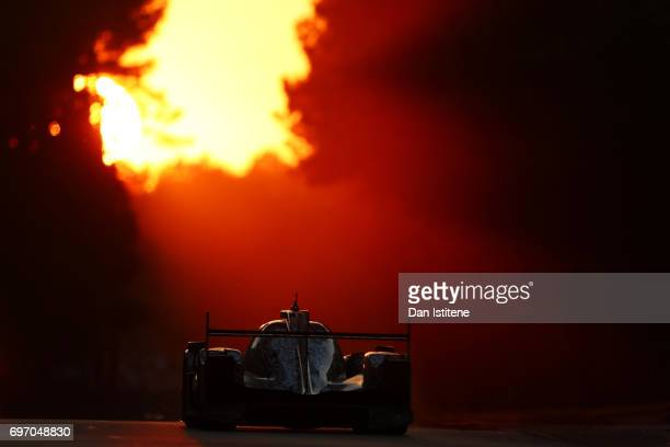 The Jackie Chan DC Racing Oreca of Oliver Jarvis Thomas Laurent and HoPin Tung drives during the Le Mans 24 Hour Race at Circuit de la Sarthe on June...
