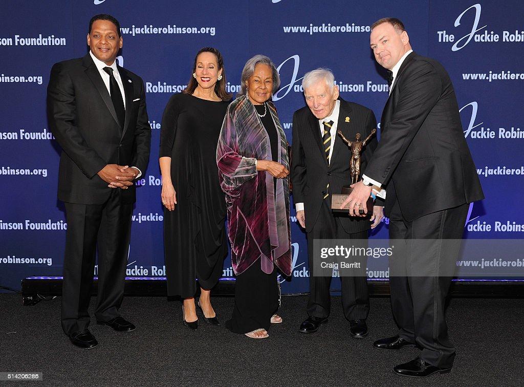 The Jackie Robinson Foundation's Chairman of the Board of Directors Gergg Gonsalves President and CEO Della Britton Baeza Founder Rachel Robinson...