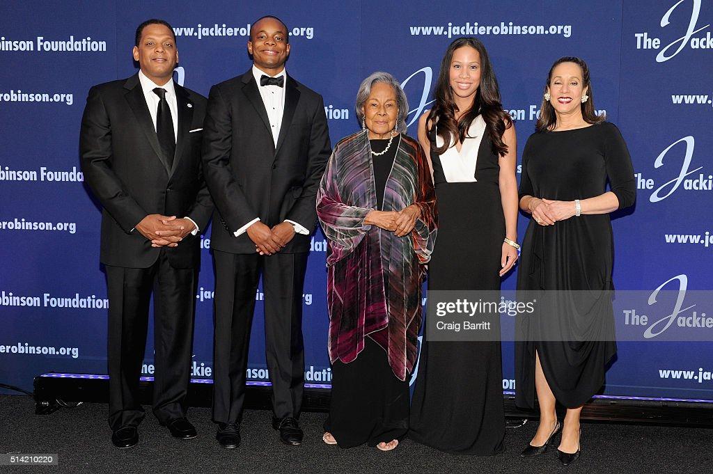 The Jackie Robinson Foundation's Chairman of the Board of Directors Gergg Gonsalves Alum Christopher Dean Founder Rachel Robinson Jade Dean and...