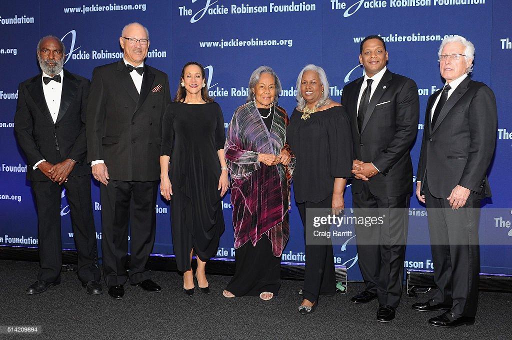 The Jackie Robinson Foundation's David Robinson Leonard S Coleman Jr Della Britton Baeza Rachel Robinson Sharon Robinson Gregg Gonsalves and Martin...