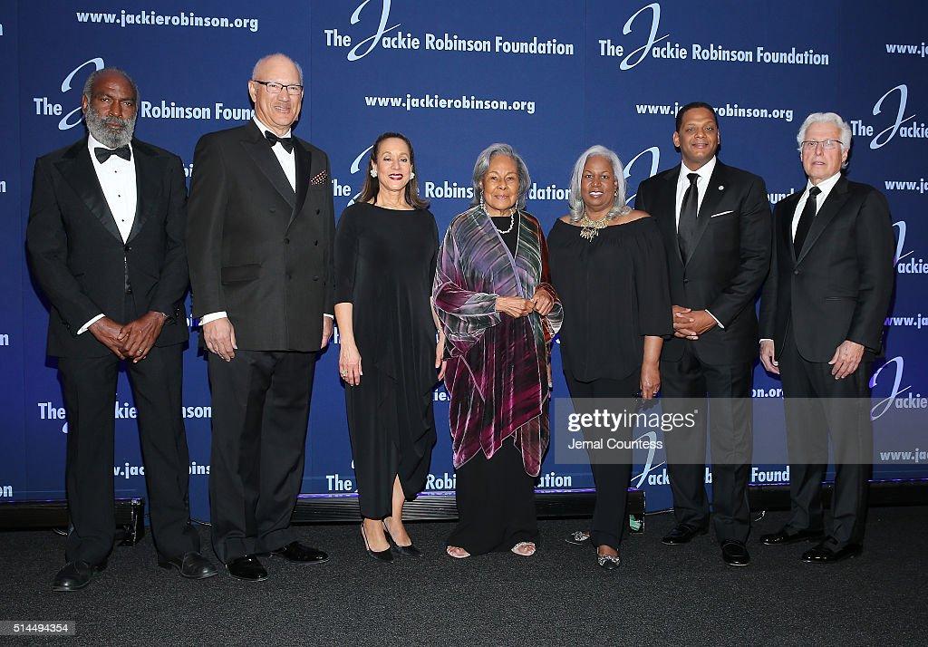 The Jackie Robinson Foundation's David Robinson Leonard S Coleman Jr Joe J Plumeri Della Britton Baeza Rachel Robinson Sharon Robinson Gregg...