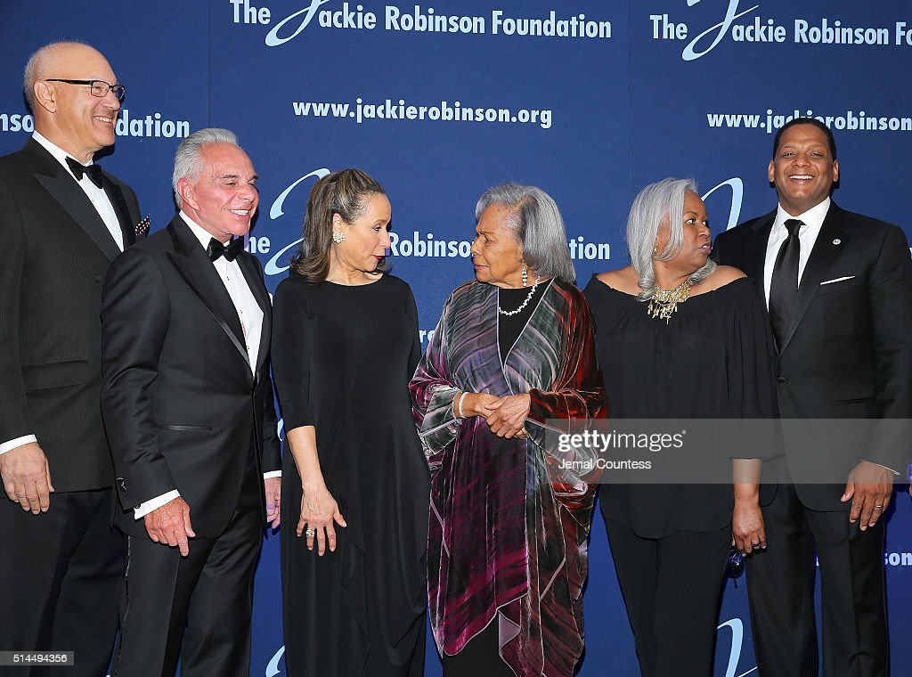 The Jackie Robinson Foundation's Leonard S Coleman Jr Joe J Plumeri Della Britton Baeza Rachel Robinson Sharon Robinson and Gregg Gonsalves pose for...