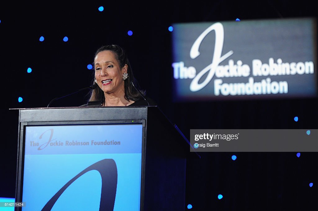 The Jackie Robinson Foundation's President and CEO Della Britton Baeza speaks on stage at the Jackie Robinson Foundation annual awards dinner at the...