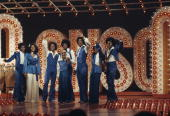 The Jackson family film a tv show at Burbank Studios California 13th November 1976 From left to right Randy La Toya Marlon Janet Michael Jackie...