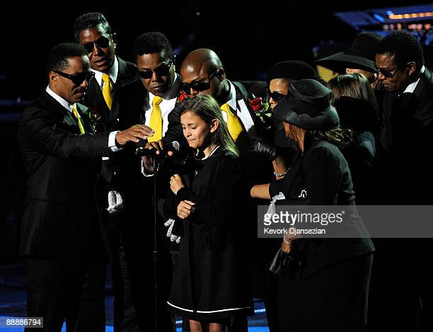 The Jackson family Marlon Jackson Jermaine Jackson Tito Jackson Randy Jackson Paris Katherine Jackson Janet Jackson and Rebbie Jackson speak at the...