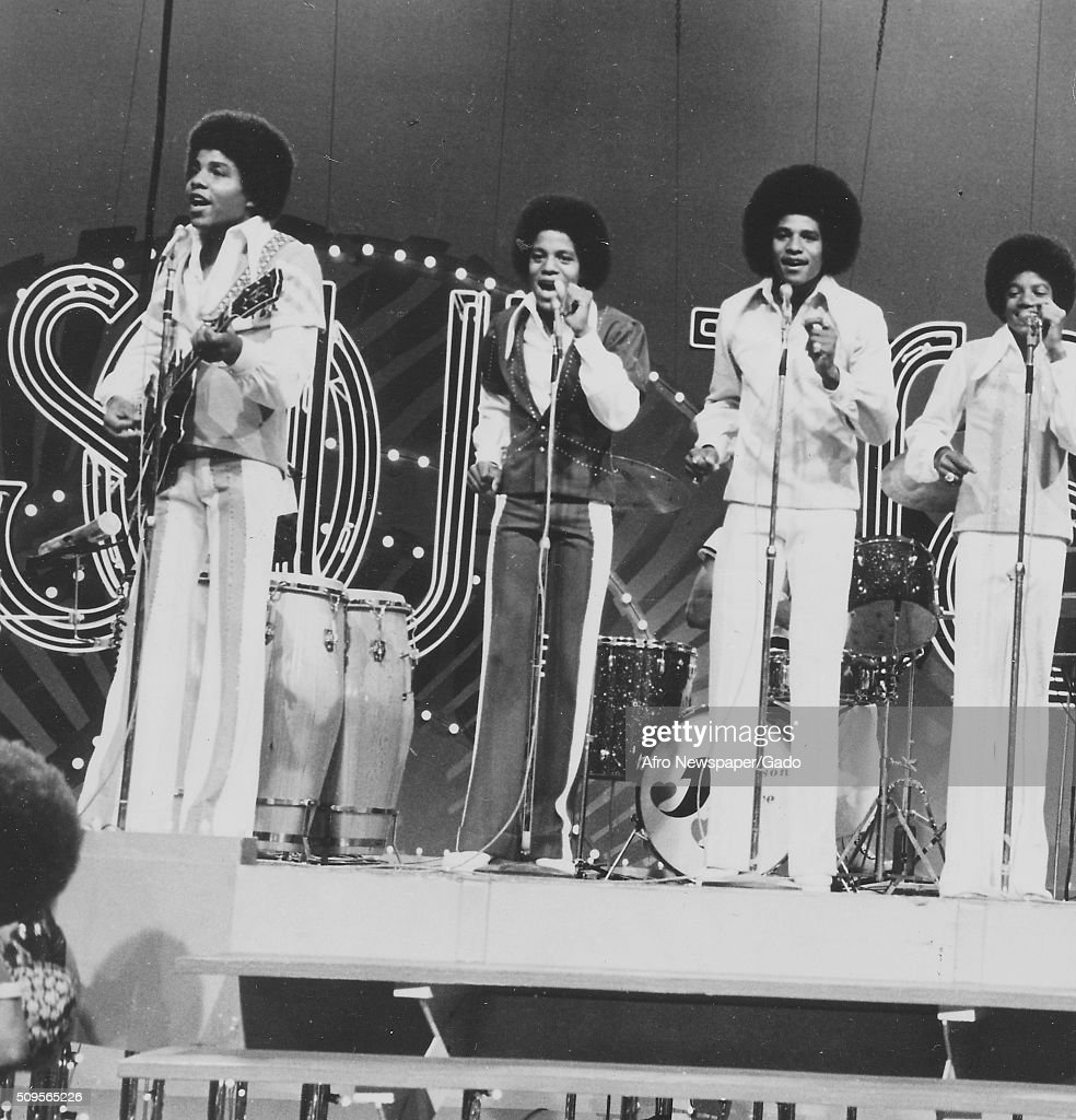 The Jackson Five on stage at Soul Train, from left Jermaine, Randy, Tito and Michael, August 16, 1975. (Photo by Afro American Newspapers/Gado/Getty Images).