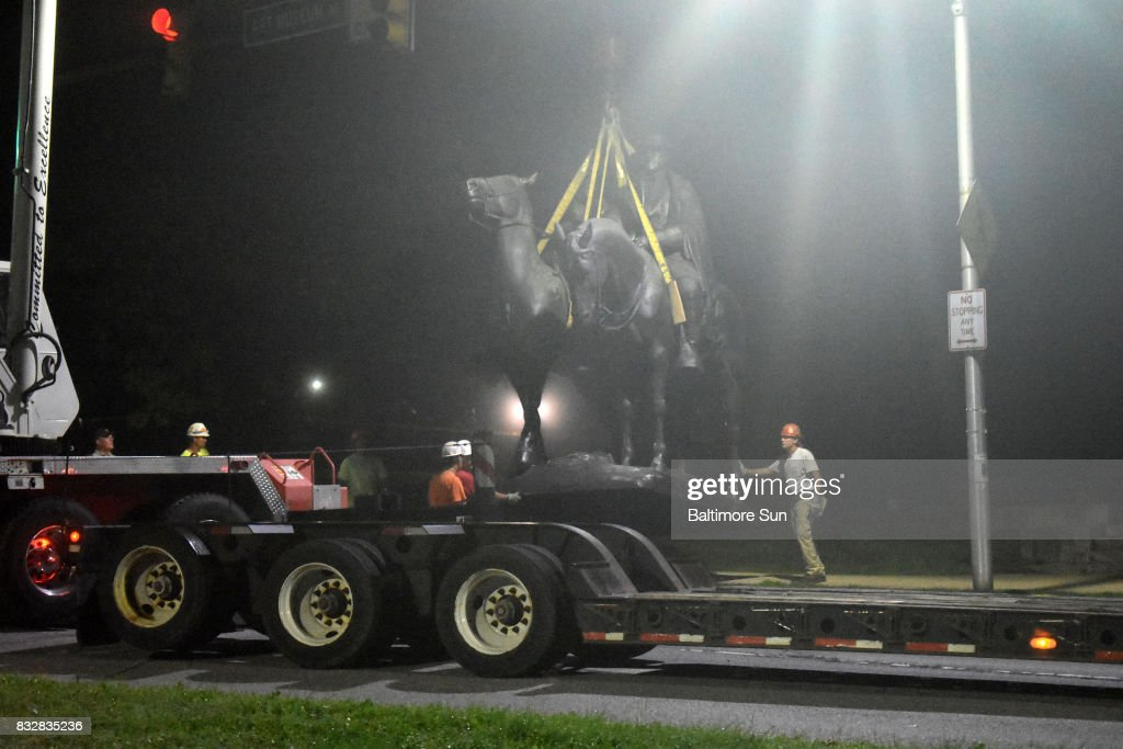 The Jackson-Lee Monument in Wyman Park is removed after workers took down four Confederate monuments overnight in the city on Aug. 16, 2017 in Baltimore, Md.
