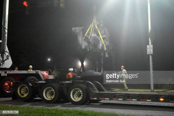 The JacksonLee Monument in Wyman Park is removed after workers took down four Confederate monuments overnight in the city on Aug 16 2017 in Baltimore...