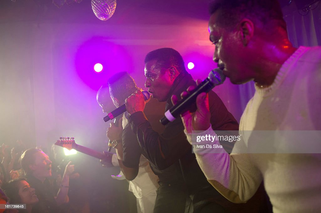 The Jacksons perform with Wyclef Jean at Cafe Opera on February 14, 2013 in Stockholm, Sweden.