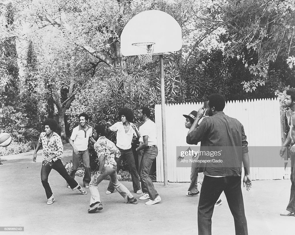 jacksons playing basketball pictures getty images
