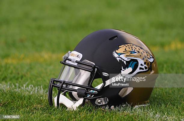 The Jacksonville Jaguars logo visible during a training session at Pennyhill Park Hotel ahead of Sunday's NFL match at Wembley Stadium between...