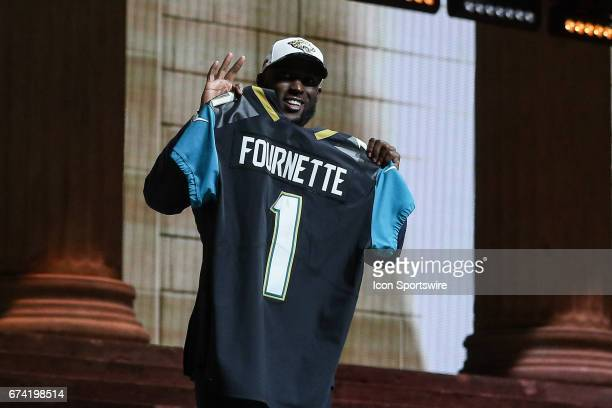 The Jacksonville Jaguars select Leonard Fournette of LSU with the fourth pick at the 2017 NFL Draft and poses with jersey at the 2017 NFL Draft...