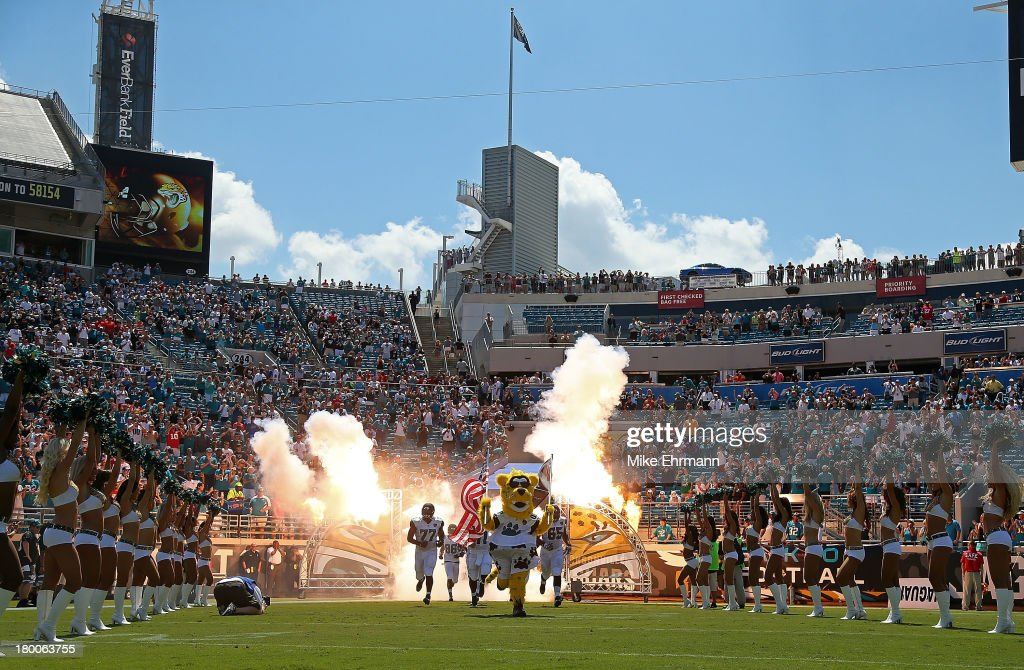 The Jacksonville Jaguars take the field during a game against the Kansas City Chiefs at EverBank Field on September 8, 2013 in Jacksonville, Florida.