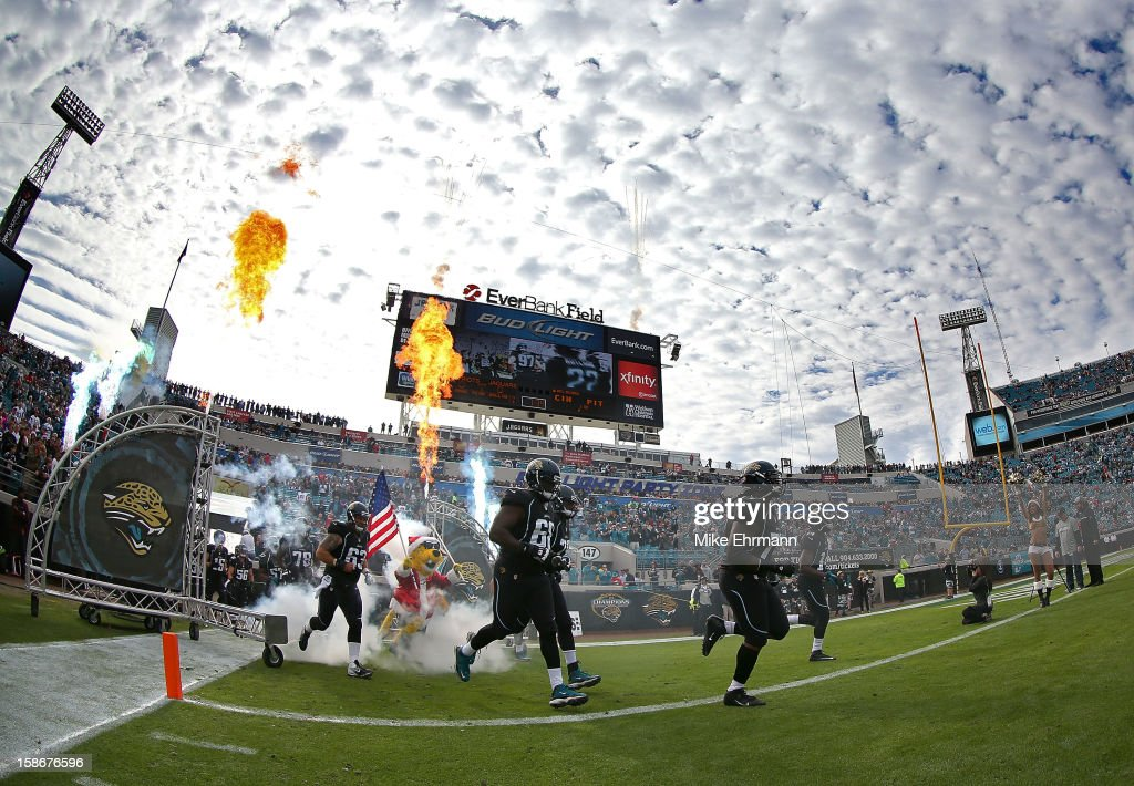The Jacksonville Jaguars takes the field during a game against the Jacksonville Jaguars at EverBank Field on December 23, 2012 in Jacksonville, Florida.
