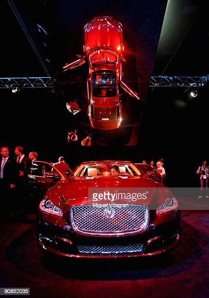 The Jaguar 2010 XJ is reflected in a mirror at the international motor show IAA on September 16 2009 in Frankfurt am Main GermanyThe world's biggest...