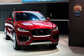 The Jaguar FPace is introduced at the New York International Auto Show at the Javits Center on March 23 2016 in New York City The FPace is Jaguar's...
