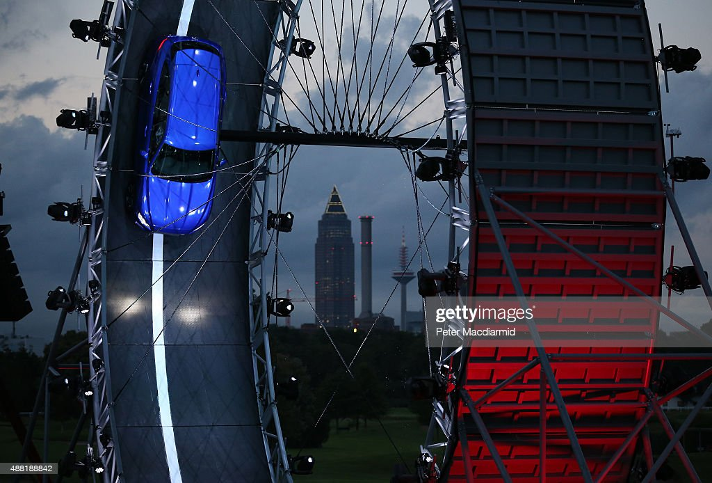 The Jaguar FPACE is unveiled as it drives round a giant loop the loop track on September 14 2015 in Frankfurt Germany Jaguar is celebrating it's 80th...