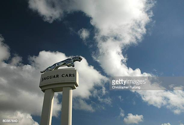 The Jaguar insignia stands outside the Halewood operations site of Jaguar and Land Rover as the news that the company has been bought by Indian motor...